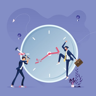 Business group trying to stop the time-deadline and time management concept