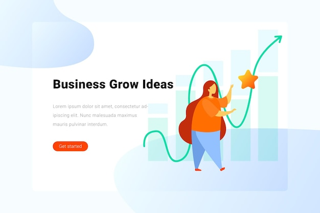 Business grow ideas concept woman catches star on chart background  flat illustration