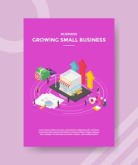 Business growing small business people standing around store chart paper money