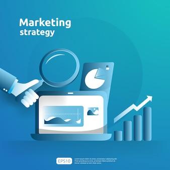 비즈니스 성장 및 투자 수익(roi). 테이블, 컴퓨터 화면의 그래픽 개체가 있는 디지털 마케팅 전략 개념. 차트 증가 이익. 배너 평면 스타일 벡터 일러스트 레이 션