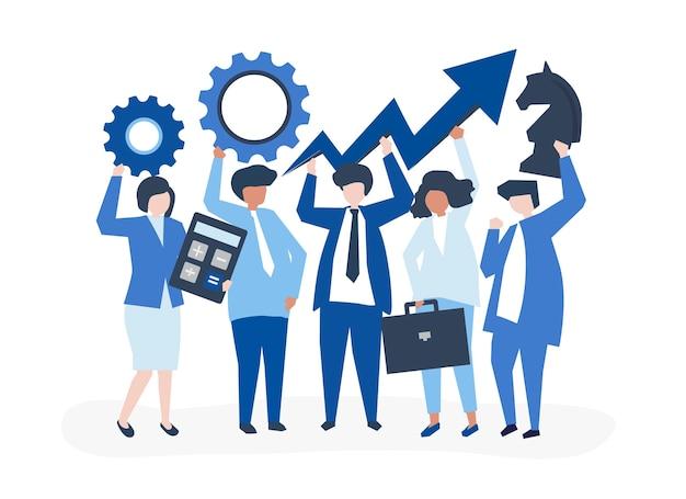 ビジネス成長と戦略コンセプトイラスト
