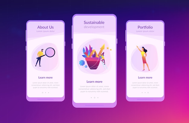 Business growth app interface template