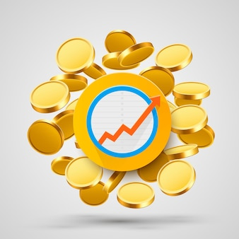 Стрелка роста бизнеса с золотыми монетами. векторная иллюстрация