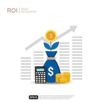 Стрелки роста бизнеса к успеху. мешки с символом доллара, калькулятор и монеты. рентабельность инвестиций иллюстрация