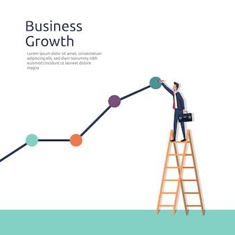 Рост бизнеса, бизнесмен, рисующий векторную иллюстрацию линии графика