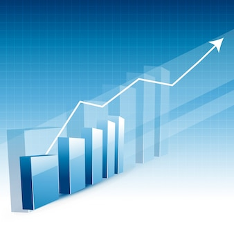 Business growth chart with upward arrow