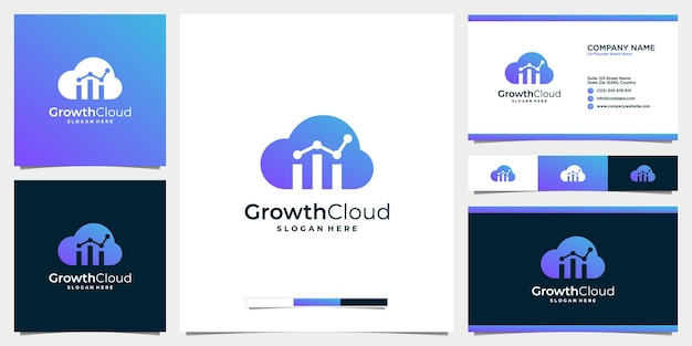 Business growth and cloud gradient logo design with business card template