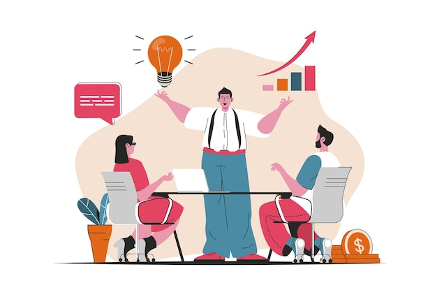 Business growth concept isolated. business project development, growth of profits. people scene in flat cartoon design. vector illustration for blogging, website, mobile app, promotional materials.