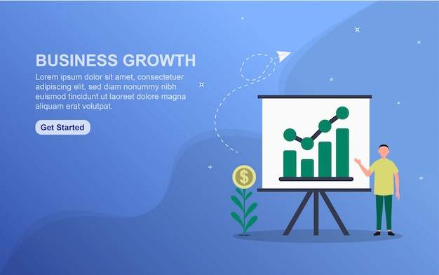 Business growth concept landing page template.