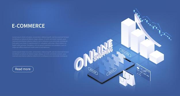 上昇する棒グラフとグラフを使用したeコマースまたはオンラインショッピングのビジネス成長の概念