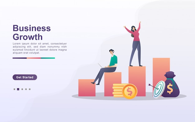 Business growth concept. people celebrate success on the chart, business success, financial freedom. can use for web landing page, banner, flyer, mobile app.
