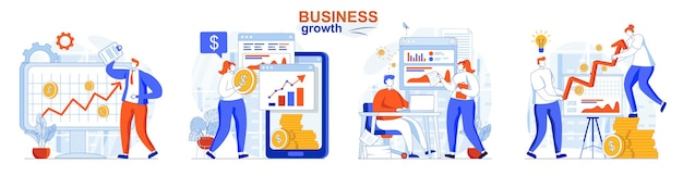 Business growth concept set increase in income successful development strategy