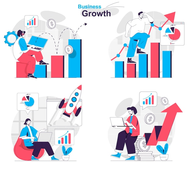 Business growth concept set profit growth startup launch financial statistics