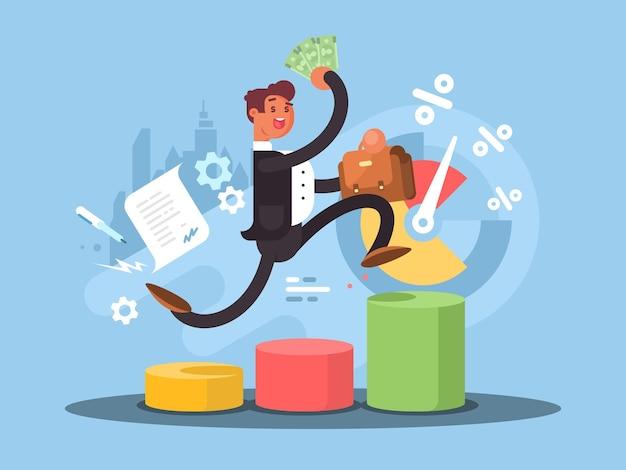 ビジネスの成長の概念。企業のはしごを登る成功した実業家。ベクトルイラスト