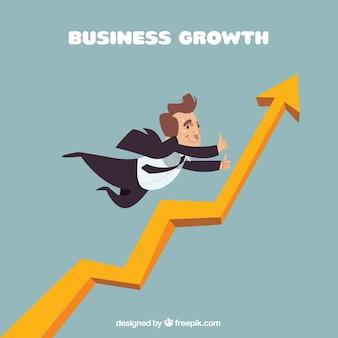 Концепция роста бизнеса с летающим бизнесменом