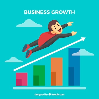Business growth concept with flying man