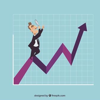 Concetto di crescita del business con l'uomo sul grafico