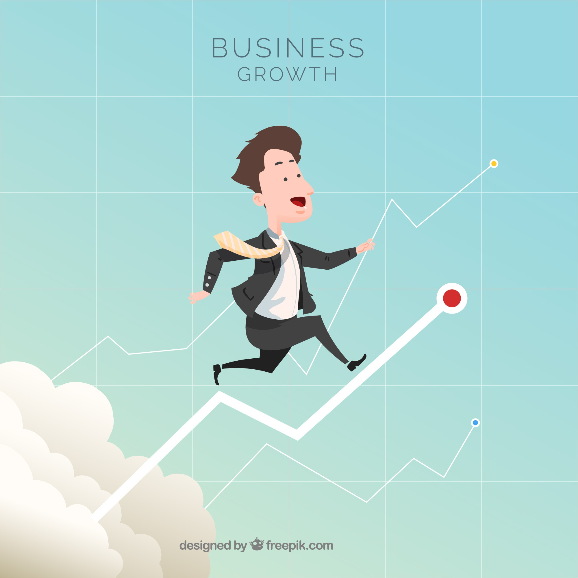Business growth concept with man in sky