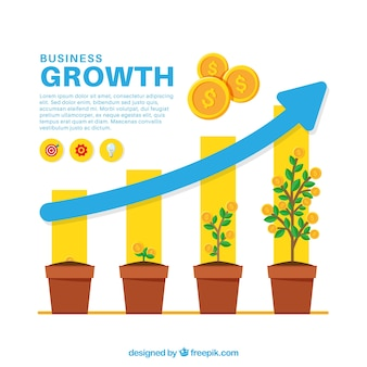 Business growth concept with plants