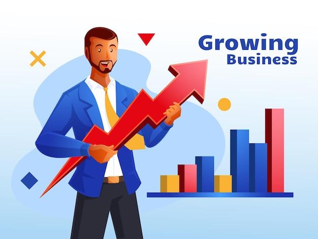Бизнес-концепция консультанта по развитию бизнеса с символом стрелки