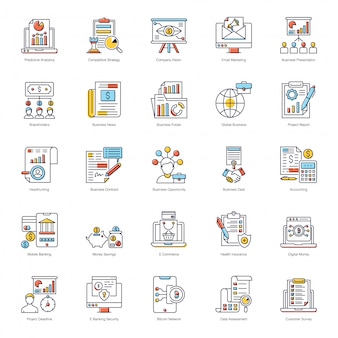 Business growth flat icons pack