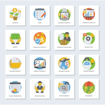 Business growth flat icons