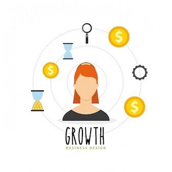 Business growth funds flat icons