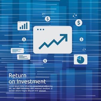 График роста бизнеса и график стрелки увеличиваются до успеха. возврат инвестиций на инвестиции или увеличение прибыли.