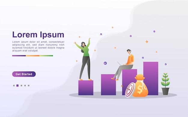 Business growth illustration concept with tiny people. return on investment, people celebrating for successful, business profit. flat design
