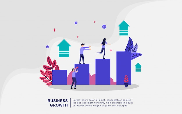 Business growth illustration concept with tiny people