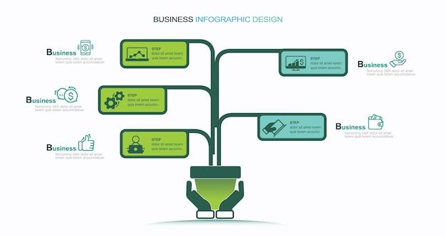 ビジネスの成長インフォグラフィックストックイラストツリーインフォグラフィック起源の成長