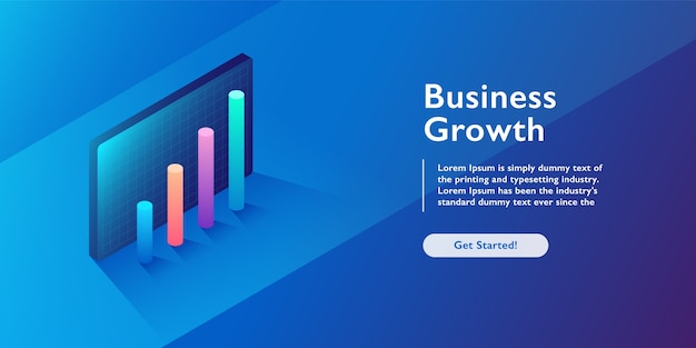 Business growth isometric vector illustration