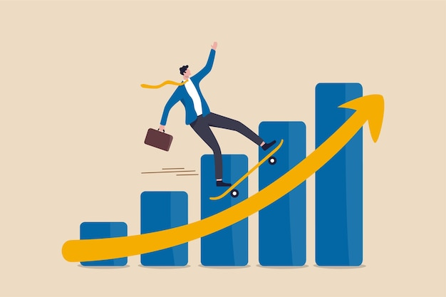 Business growth moving forward concept