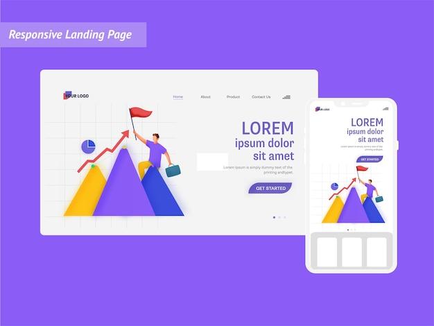 Целевая страница на основе концепции роста или успеха со смартфоном на фиолетовом фоне.