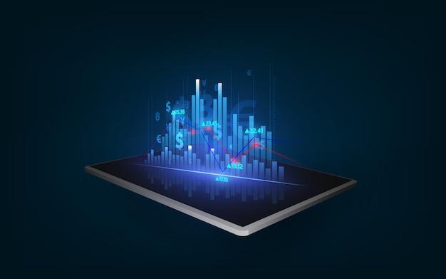 비즈니스 성장, 진행 또는 성공 개념. 태블릿 배경에 성장 가상 홀로그램 주식을 보여주는.
