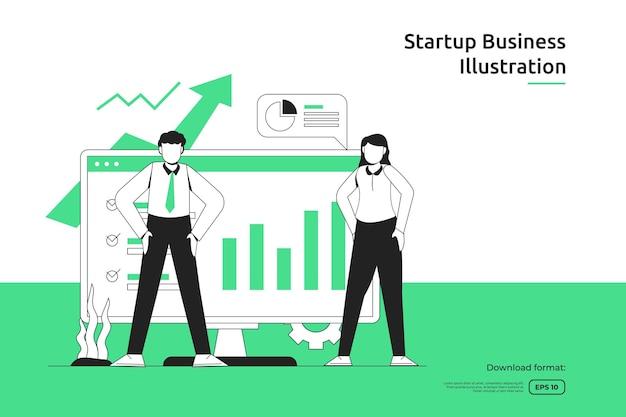 컴퓨터 화면의 화살표 위쪽 그래프와 인물 삽화로 비즈니스 성장 성공. 시작 및 투자 벤처 개념입니다. 팀워크 은유 디자인 웹 방문 페이지 또는 모바일 웹사이트