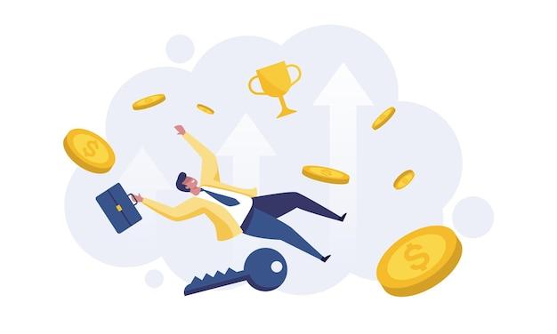 ビジネスの成長、富と繁栄の概念。金持ちのビジネスマンは金貨の山にジャンプします。
