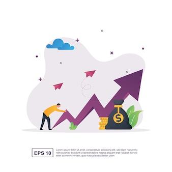 折れ線グラフを押し上げる人々によるビジネスの成長。