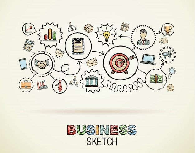 Business hand draw integrated icons set. colorful  sketch infographic illustration. connected doodle pictograms on paper, strategy, mission, service, analytics, marketing, interactive concepts