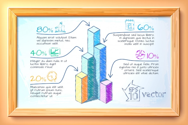Business hand drawn infographics with colorful graphs five options text and icons in wooden frame illustration