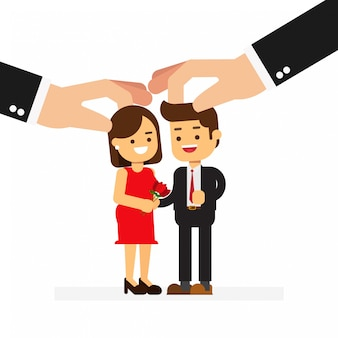 Business hand hold man and woman control for love