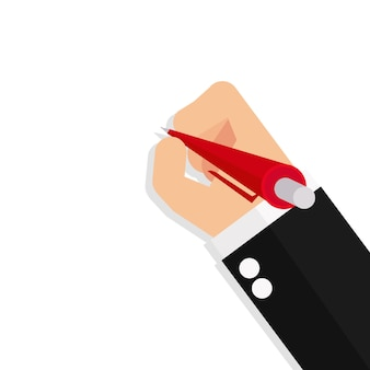 Business hand holds a pen