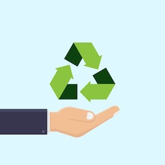 Business hand holds recycling icon vector illustration