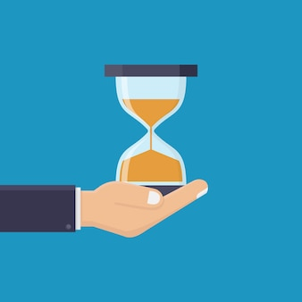 Business hand and hourglass, flat design vector illustration