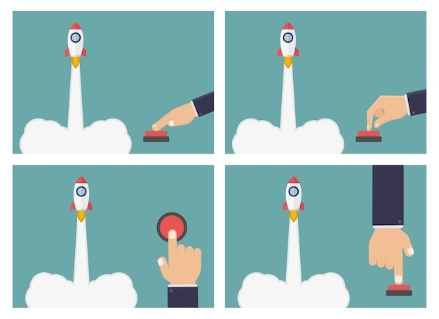 비즈니스 손으로 밀어 로켓 버튼 그림