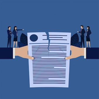 Business hand rip contract agreement metaphor of canceled contract