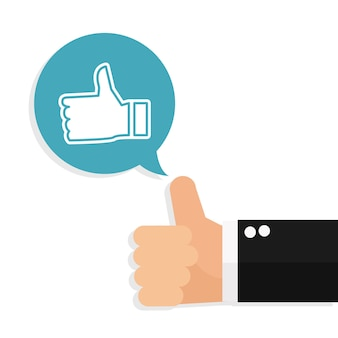 Business hand thumbs up sign