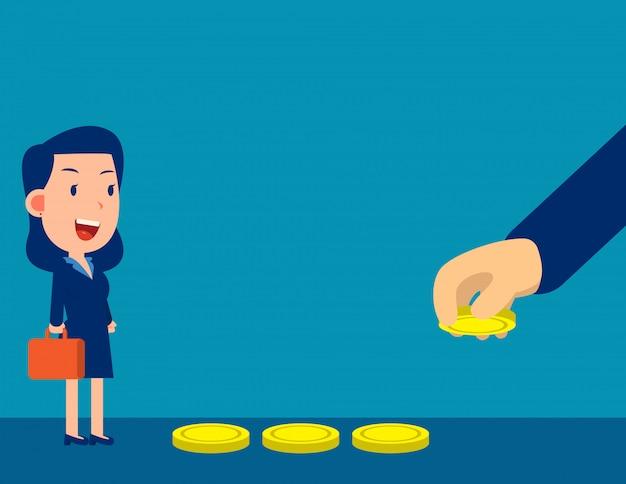 ビジネスの手は、餌を誘惑するためにお金を使います。金融トラップの概念。