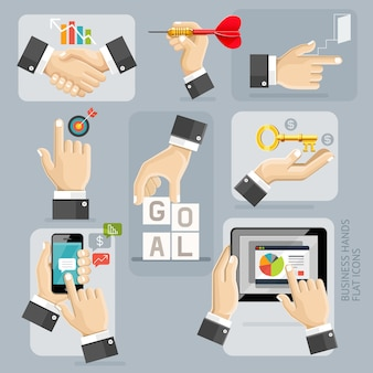 Business hands flat icons set.