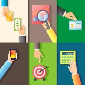 Business mani gesti elementi di design di dare soldi mettere id carta isolato illustrazione vettoriale